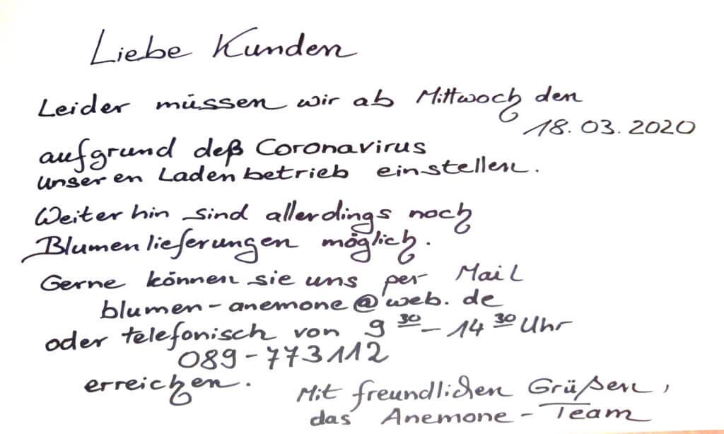 Coronavirus Schliessung